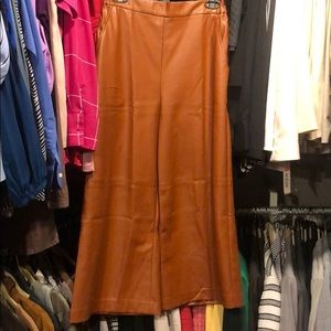 NWT faux/vegan leather camel colored culottes